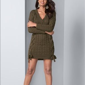 Express Olive Green Cable Knit Sweater Dress